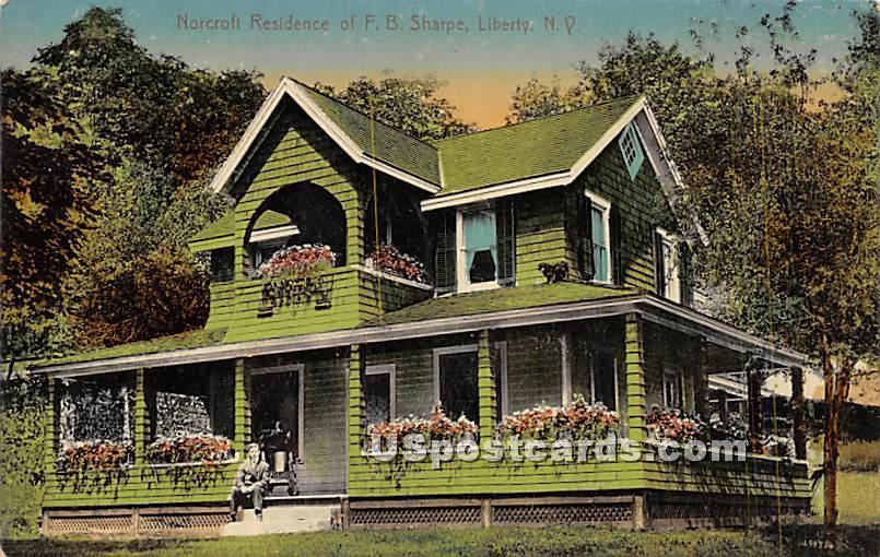 Norcroft Residence of FB Sharpe - Liberty, New York NY Postcard