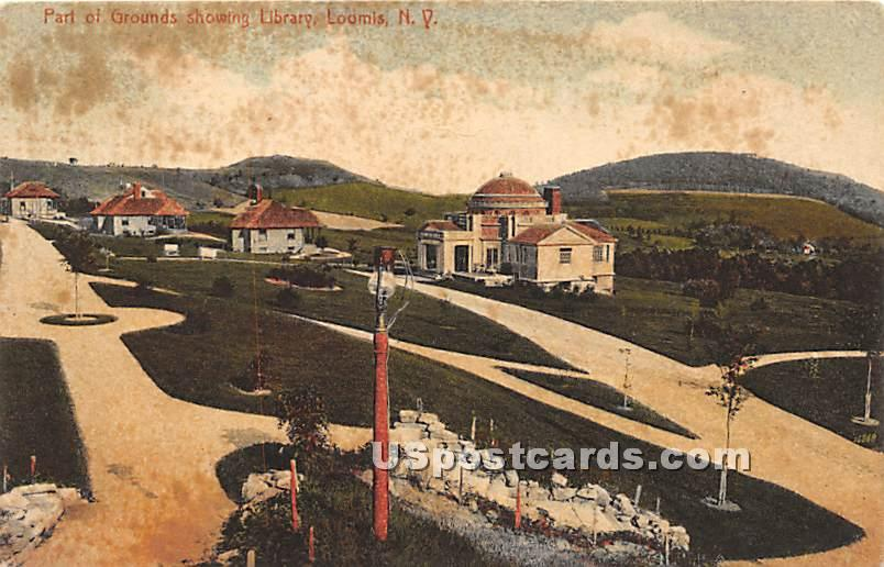 Part of Grounds Showing Library - Liberty, New York NY Postcard