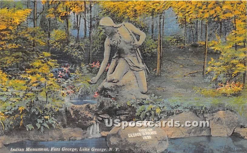 Indian Monument, Fort George - Lake George, New York NY Postcard