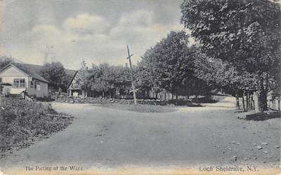 The Parting of the ways Loch Sheldrake, New York Postcard