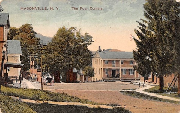 Four Corners Masonville, New York Postcard