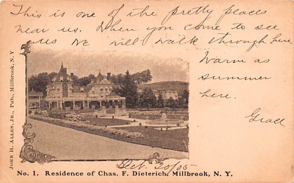 Residence of Chas F Dieterich Millbrook, New York Postcard