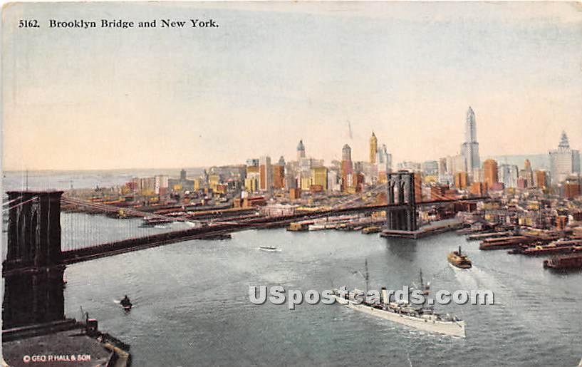 Brooklyn Bridge - Manhattan, New York NY Postcard