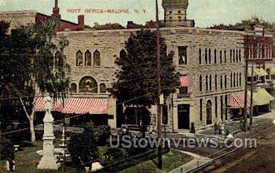 Post Office - Malone, New York NY Postcard