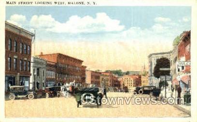 Main Street - Malone, New York NY Postcard