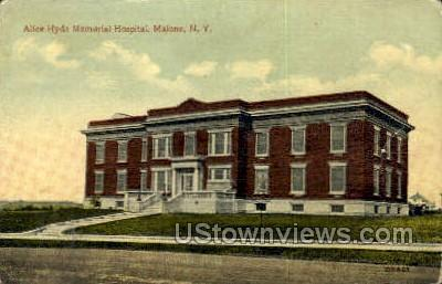 Alice Hyde Memorial Hospital - Malone, New York NY Postcard
