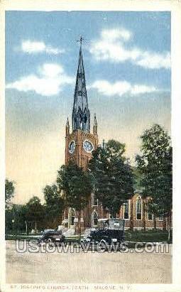 St. Joseph's Church - Malone, New York NY Postcard