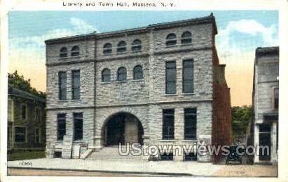 Library & Town Hall - Massena, New York NY Postcard