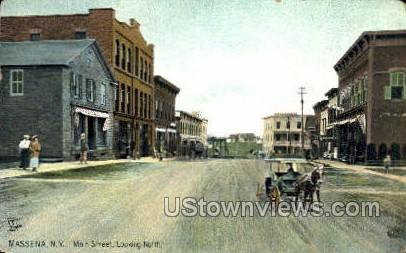 Main Street - Massena, New York NY Postcard