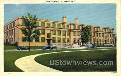 High School - Massena, New York NY Postcard