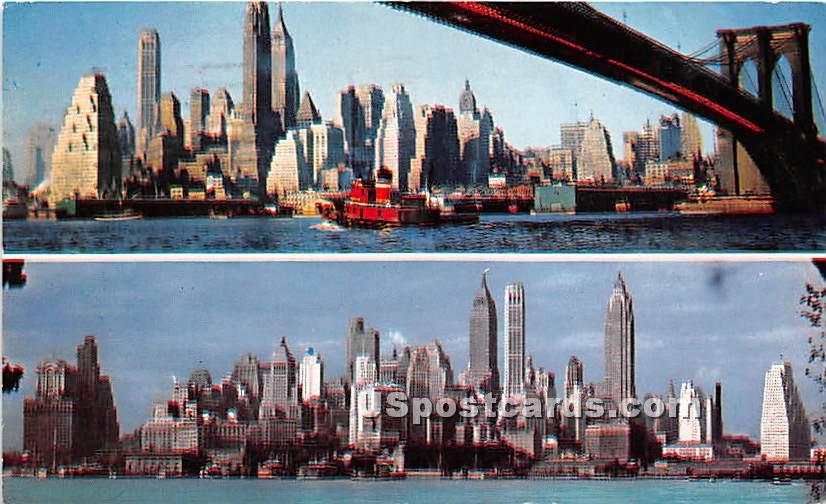 Brooklyn Bridge - Manhattan, New York NY Postcard