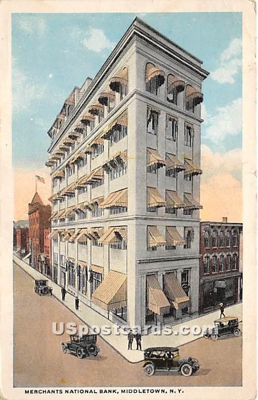 Merchants National Bank - Middletown, New York NY Postcard