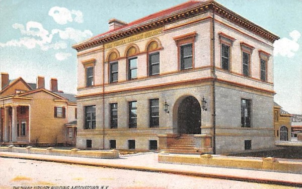 Thrall Library Middletown, New York Postcard