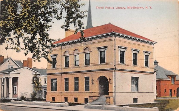Thrall Public Library Middletown, New York Postcard