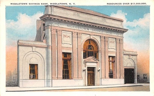 Middletown Savings Bank New York Postcard
