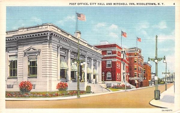 Post Office, City Hall Middletown, New York Postcard