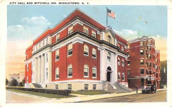 City Hall & Mitchell Inn Middletown, New York Postcard
