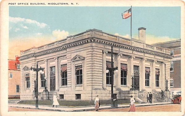 Post Office Building Middletown, New York Postcard