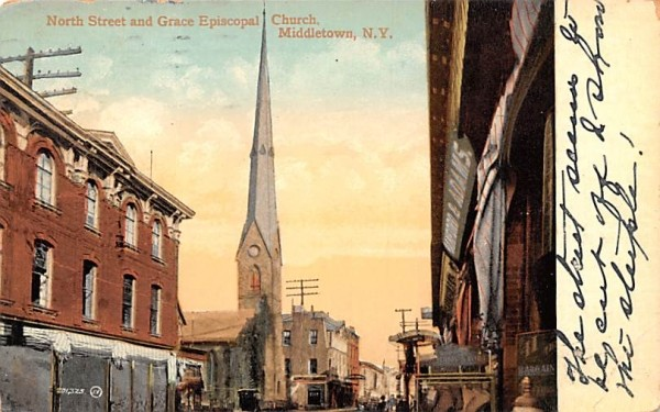 North Street & Grace Episcopal Church Middletown, New York Postcard