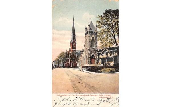 Universalist & First Congregational Churches Middletown, New York Postcard