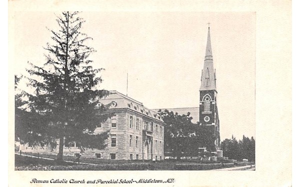 Roman Catholic Church & Parochial School Middletown, New York Postcard