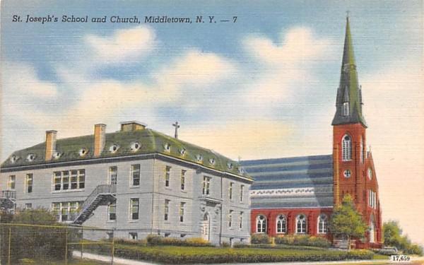 St Joseph's School & Church Middletown, New York Postcard