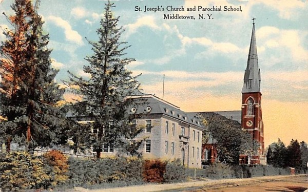 St Joseph's Church & Parochial School Middletown, New York Postcard