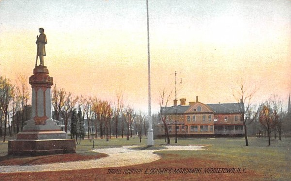Thrall Hospital & Soldiers' Monument Middletown, New York Postcard