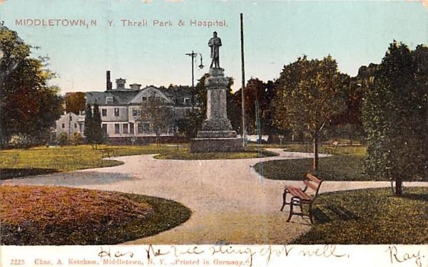 Thrall Park & Hospital Middletown, New York Postcard