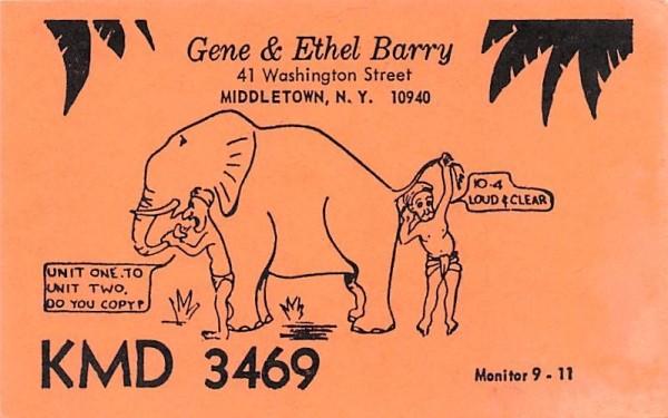 Gene & Ethel Barry Middletown, New York Postcard