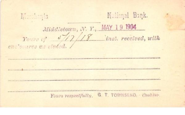 Merchants National Bank Middletown, New York Postcard