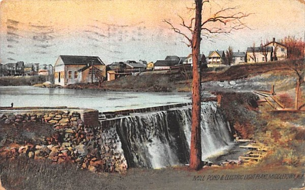 Mill Pond & Electric Light Plant Middletown, New York Postcard