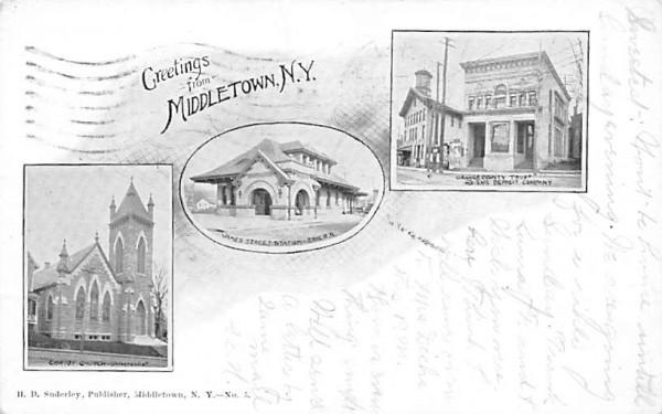 Orange County Trust & Safe Deposit Company, James Street Station Middletown, New York Postcard