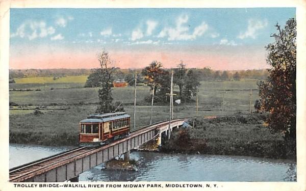 Trolley Bridge Middletown, New York Postcard