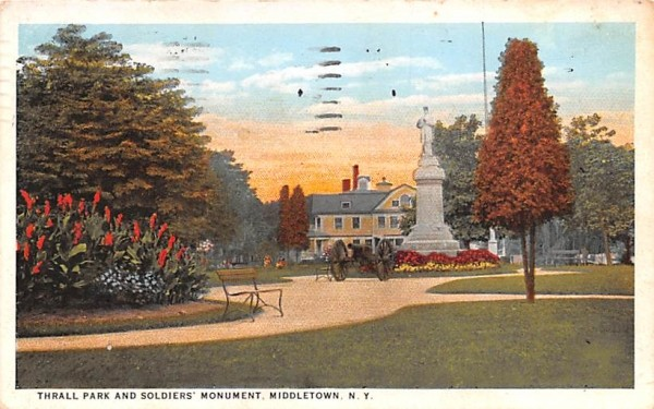 Thrall Park & Soldiers' Monument Middletown, New York Postcard