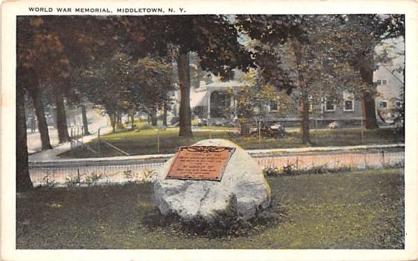 World War Memorial Middletown, New York Postcard