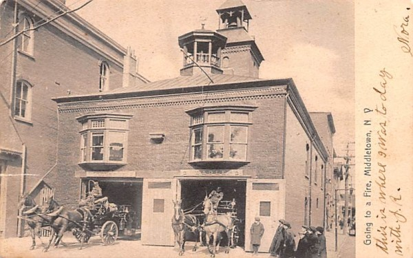 Going to a Fire Middletown, New York Postcard