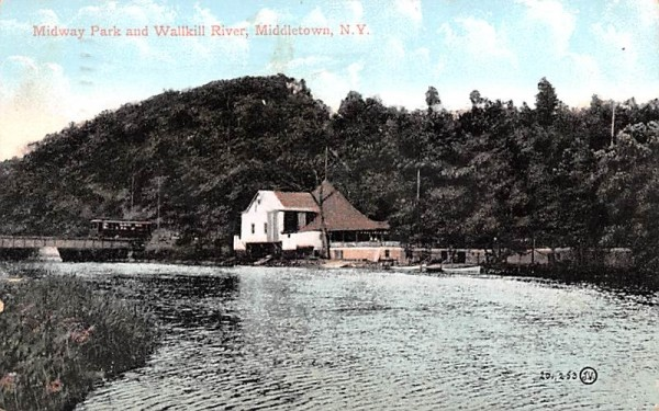 Midway Park & Wallkill River Middletown, New York Postcard