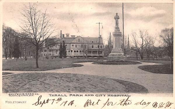 Thrall Park & City Hospital Middletown, New York Postcard