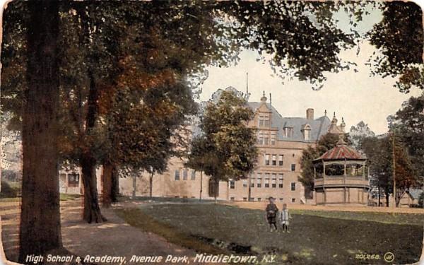 High School & Academy Middletown, New York Postcard