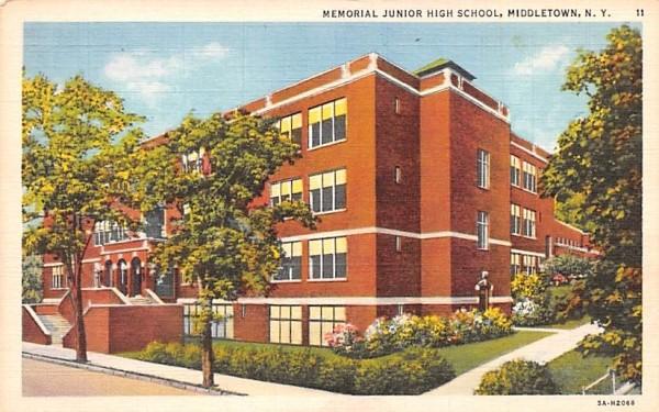 Memorial Junior High School Middletown, New York Postcard