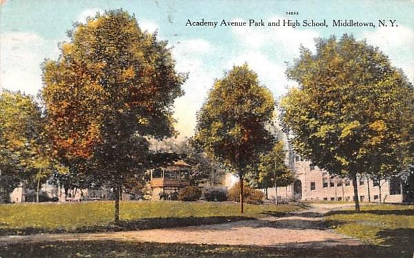Academy Avenue Park & High School Middletown, New York Postcard