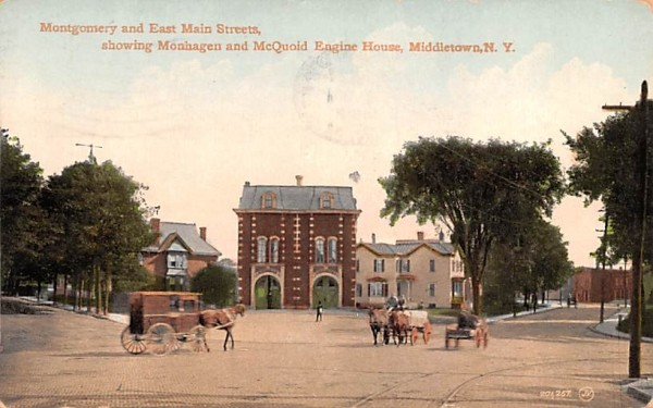 Montgomery & East Main Streets Middletown, New York Postcard
