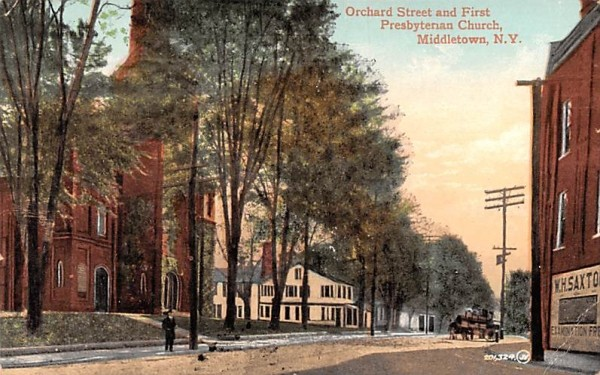 Orchard Street & First Presbyterian Church Middletown, New York Postcard