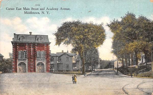 Corner East Main Street & Academy Avenue Middletown, New York Postcard