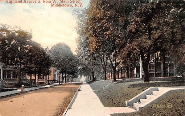 Highland Avenue from West Main Street Middletown, New York Postcard