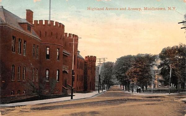 Highland Avenue & Armory Middletown, New York Postcard