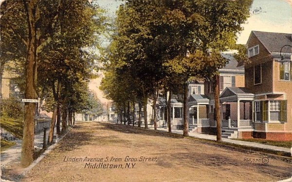 Linden Avenue South from Groo Street Middletown, New York Postcard