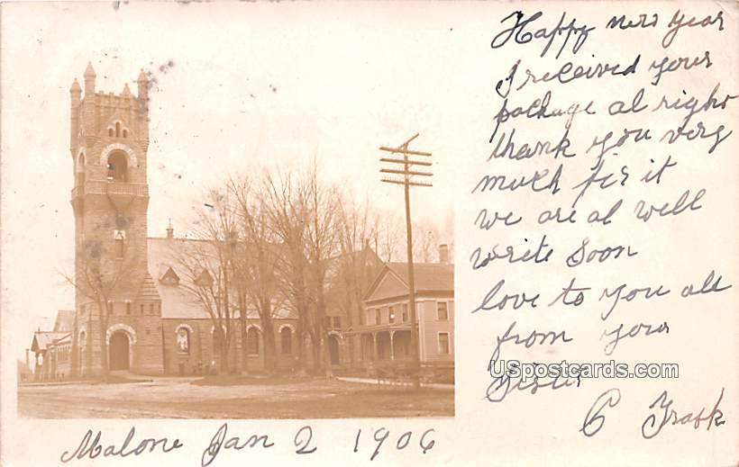 Big Old Building - Malone, New York NY Postcard