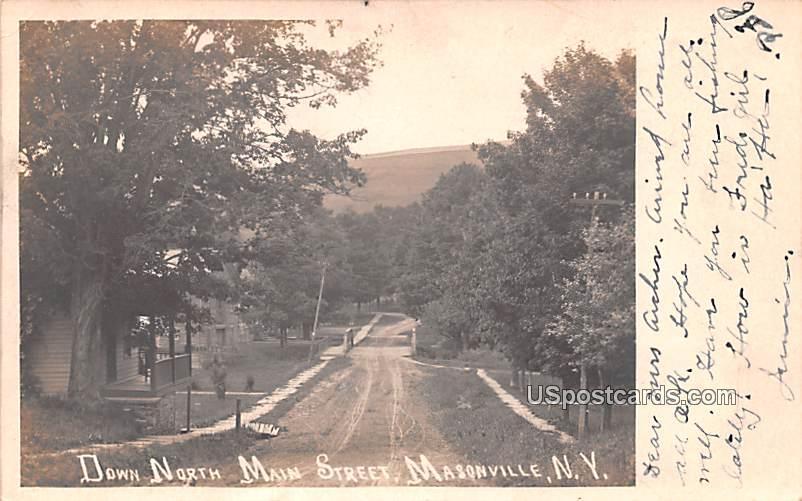 Down North Main Street - Masonville, New York NY Postcard